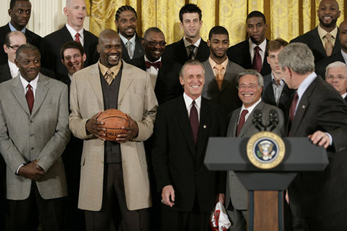 Miami Heat owner Micky Arison at the White House with the 2006 NBA Champions